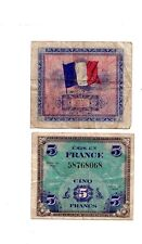 WWII Military MPC money for France 5 Francs  WW2 1944