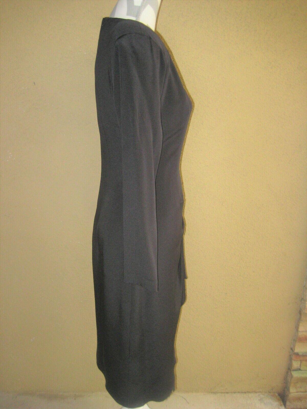 Vintage 1980's Travilla black drop waist LS lined… - image 8