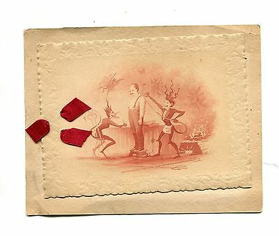 Vintage Greeting Card DEVILS Measuring a Man for a Suit TAILOR  Very WEIRD