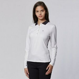 Details about Calvin Klein Ladies Stableford Long Sleeve Polo in White UK/AU Size 14
