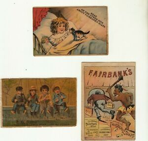3 Vintage Fairbank's Soaps Advertising Trade Cards Laundry Wash Day Indian Cat
