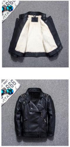2019Kids Boys Warm Leather Jacket Fleece-lined Biker Black Outerwear Coat Gift