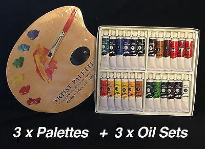 3 x Oil Colour Set 24 x18ml + 3 Disposable Paint Palette 10' x 12' Oil Paints