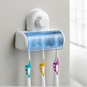 5 Peole Family Teethbrush Wall Mount Holder Case Standing Plastic Suction Kit X1