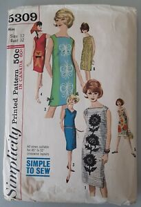 1963 Simplicity #5309 Misses One Piece Dress Sewing Pattern Size 12 Bust 32