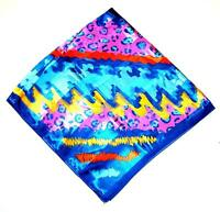 Scarf Lg Square Pink Orange Light & Dark Blue Yellow Bright Cheetah Abstract