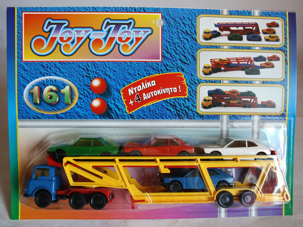 VERY RARE 70'S 80'S JOY TOY No 161 BEDFORD TRANSPORTER +4 CARS GREEK NEW SEALED