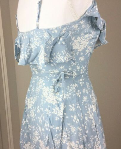 Denim /& Supply Ralph Lauren Women Flounce Floral Wrap Dress Blue S L