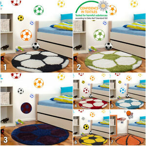 Details about Boys Football Rug Childrens Bedroom Mats Kids Round Fluffy  Baby Playroom Carpet