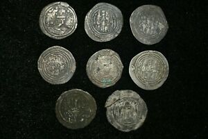 Lot-Sell-8-Pcs-Authentic-Ancient-Sasanian-Silver-Coin-Kings-Khosrow-II-590-628
