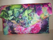 OVER SIZED FLORAL MULTICOLORED clutch bag, fully lined BN lovely!