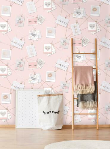 Holden Dream Lashes Girls Pink Wallpaper Metallic Rose Gold Photo Postcard Quote