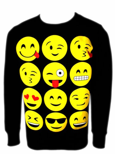 NEW Girls Novelty Emoji Smiley Faces Emoticons Print Top Sweatshirt Jumper