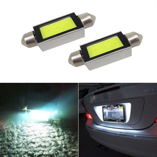 1Pair Xenon White 36mm Car COB LED License Plate Light 6418 C5W 4W LED Bulbs 12V