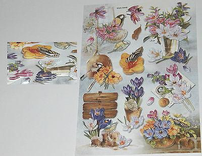 12 Sticker 3D Blumen Vögel Glimmer Kristallsteine Collage Aufkleber B7