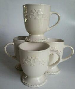 Image is loading 4-Sweet-Olive-Designs-Fancy-Scroll-Collection-Ivory- & 4 Sweet Olive Designs Fancy Scroll Collection Ivory Coffee Mugs Cups ...