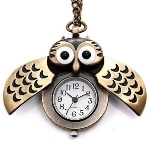 Weinlese-Bronze-Retro-Slide-Eulen-haengende-lange-Halsketten-Taschen-Uhr-Analog