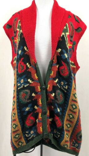 Artisan Wear Knit Sweater Vest Boho Hippie Size Me