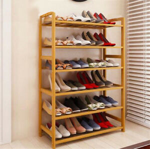 Image Is Loading High Quality 6 Tier Wood Bamboo Shelf Entryway
