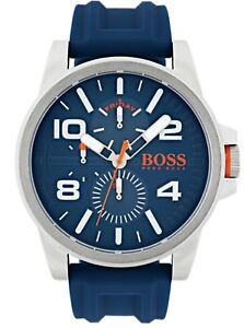 Hugo-Boss-1550008-Orange-Men-039-s-Detroit-Stainless-Steel-Watch-Blue