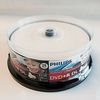 25 PHILIPS Inkjet DVD+R DL Dual Double Layer 8X Disc Free Expedited Shipping