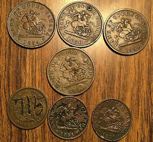 LOT-OF-7-CANADA-TOKEN-PENNY-HALFPENNY-LOT-OF-7-COINS