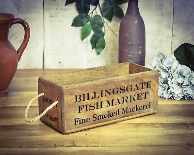 Small Box Vintage Antiqued Wooden Box Crate Billingsgate Market Trug