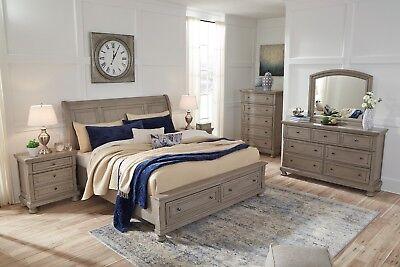 Ashley Furniture Lettner Queen Sleigh Storage 6 Piece Bedroom Set Ebay