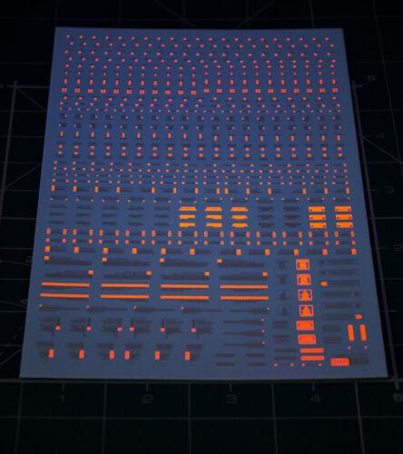 Glow In Dark 1//100 1//144 HIQ GUNDAM Warn Caution Sign Water Decal Orange White