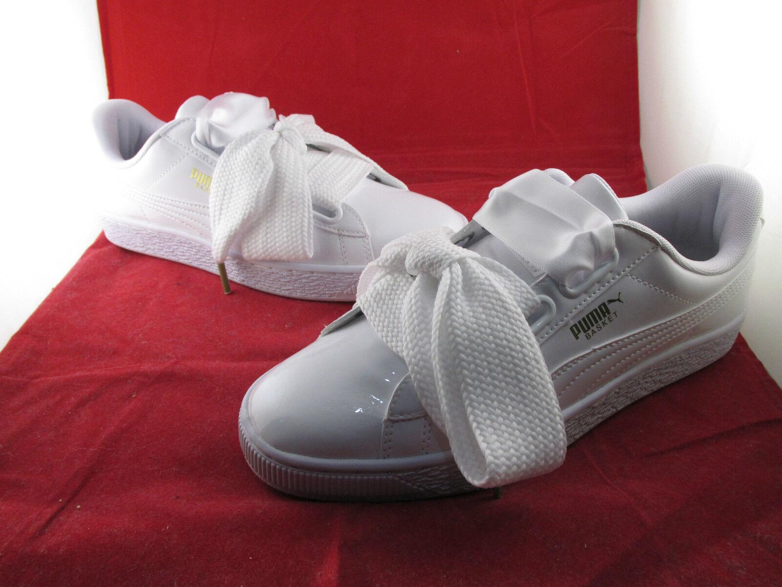 Puma Basket Heart Patent Woman White 3 4 5 6 All Sizes 363073-02 SportsLocker