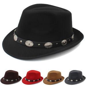 Details about Men Women Solid Hard Felt Fedora Hat Trilby Cap Sunhat Jazz  Gangster Size 7 1 8 7394149c9fe
