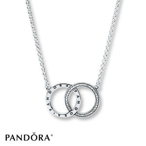 New authentic pandora circles necklace clear cz chain length 45cm image is loading new authentic pandora circles necklace clear cz chain aloadofball Images