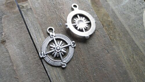 6 Compass Charms Antiqued Silver Compass Pendants Captain of My Soul Nautical