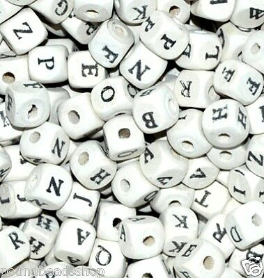 50 pcs wood alphabet single letter beads, cube white, approx 10 mm*