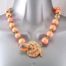 Coral Bead Enamel Snake Serpent Toggle Statement Necklace w/ Swarovski Crystals