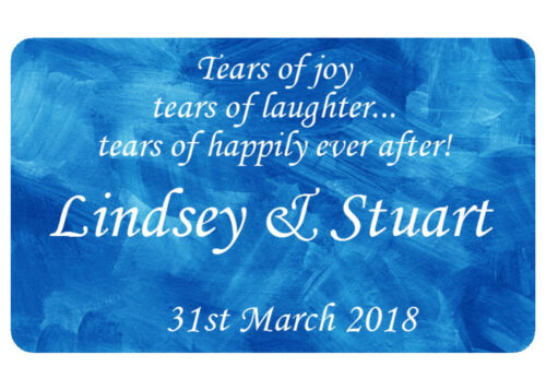 TEARS OF JOY  WEDDING STICKERS FOR TISSUE AND HANKIE PACKS CHOOSE YOUR COLOUR