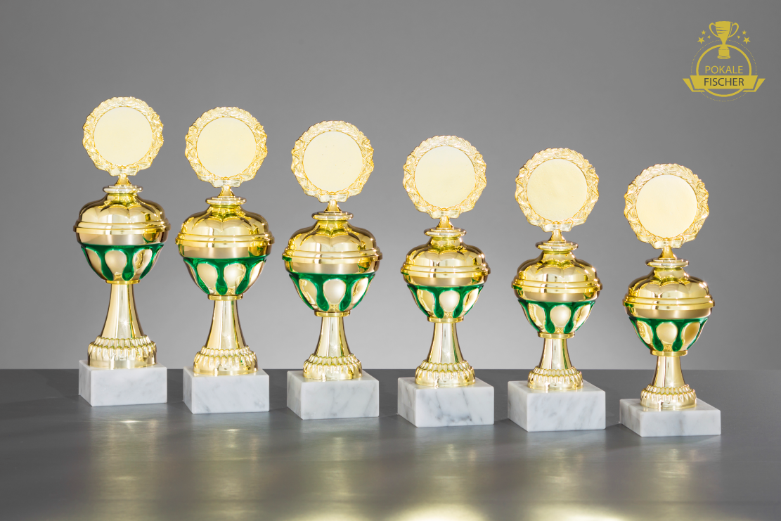 Pokale silber-/goldgrün 6er set oder einzeln silber-/goldgrün Pokale Miniatur Pokal Leichtathletik, Dart 1e8ab6