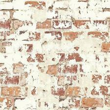 Wallpaper Red Orange Rust Faux Brick & Eggshell White Worn Stucco, Looks Real Up