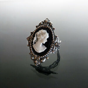 Victorian-gothic-Cameo-ring-black-filigree-silver-steampunk-wedding-SINISTRA