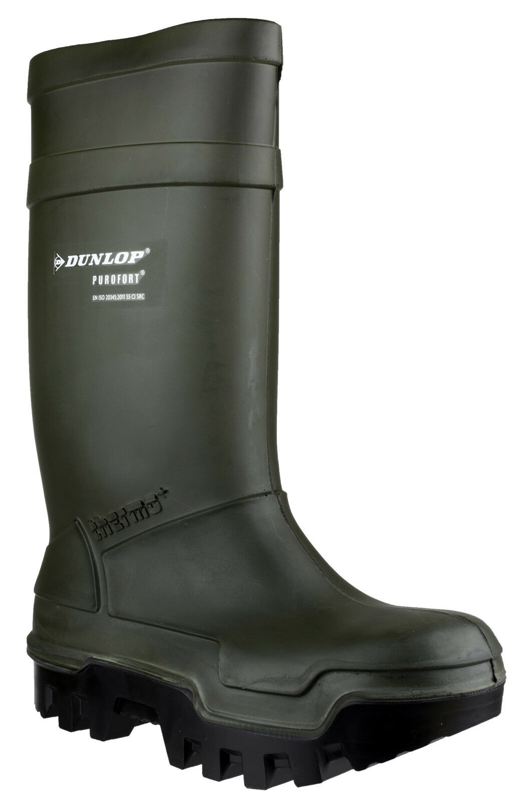 Dunlop Purofort Thermo+ Full Safety Unisex Green Pull On Wellington Boots UK5-13