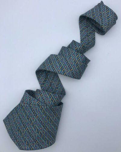 100% Authentic Hermes Silk Tie 7770 Fa Geometrical Design Excellent Condition!