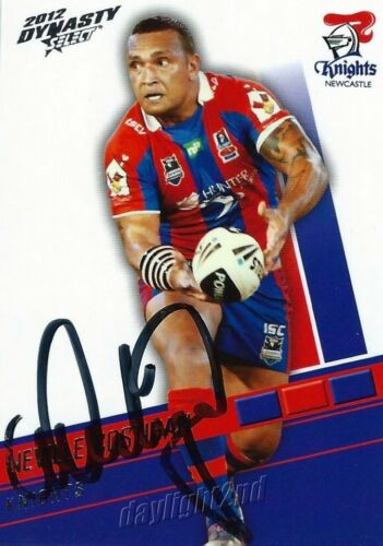 Signed 2012 NEWCASTLE KNIGHTS NRL Card NEVILLE COSTIGAN
