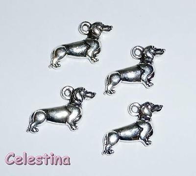 5 Bright Silver Dog Dachshund Charms 3D Pendants LF NF 21mm x 12mm