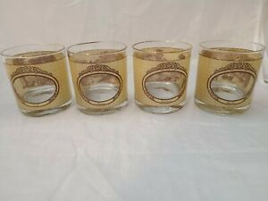 Vintage-Currier-amp-Ives-Houze-Panoramic-Whiskey-Low-Ball-Juice-Glasses-Set-of-4