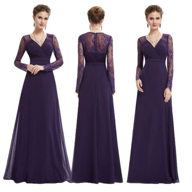 Ever-pretty US Mother of Bride Dress Long Bridesmaid Party Gown Purple Plus  Size