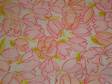 1960s Vtg Silky Fabric Lt Pink n Peach and Roses Tulips 38 Wide Selling by Yard