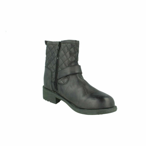 F5R0705 SPOT ON LADIES ZIP UP LOW BLOCK CHUNKY HEEL CASUAL WINTER ANKLE BOOTS