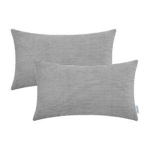 2pcs Rectangle Storm Grey Pillows Cushions Throw Cover Corduroy Stripes 30x50cm Ebay