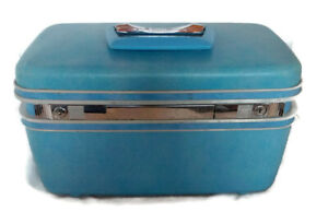 Samsonite-Silhouette-vintage-blue-makeup-train-case-hard-cover-carry-on-luggage