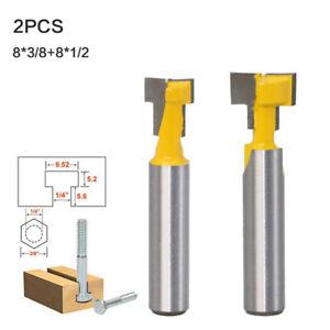 2-Stueck-3-8-039-039-1-2-039-039-T-Fraeser-mit-8-mm-Schaft-und-geradem-T-Nut-Fraeser